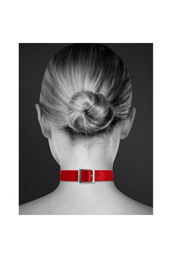 Collier en cuir rouge SM avec anneau métal argenté pour laisse