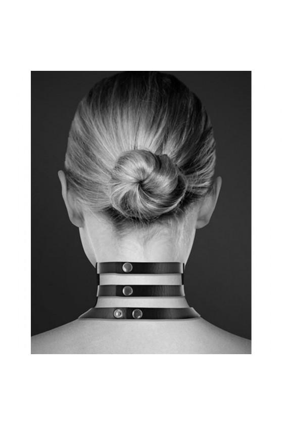Collier en cuir noir SM triple lanière avec anneau métal argenté