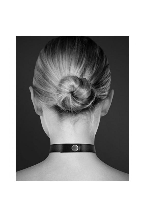 Collier en cuir noir SM avec double anneau métal argenté pour laisse