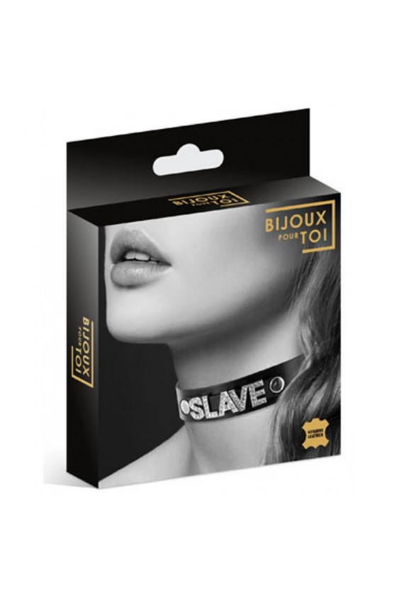 Collier en cuir noir SM avec Slave en strass