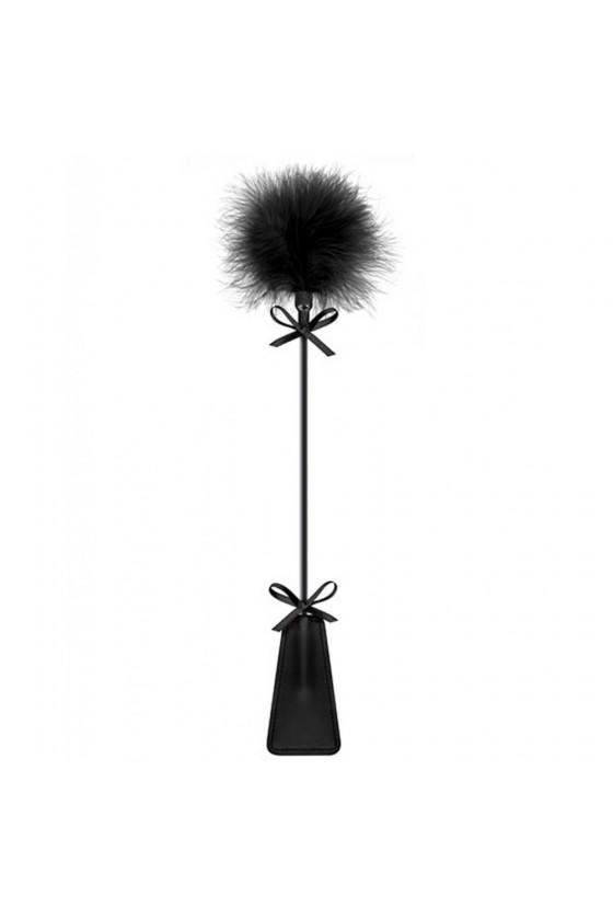 Cravache noire bdsm avec plumeau