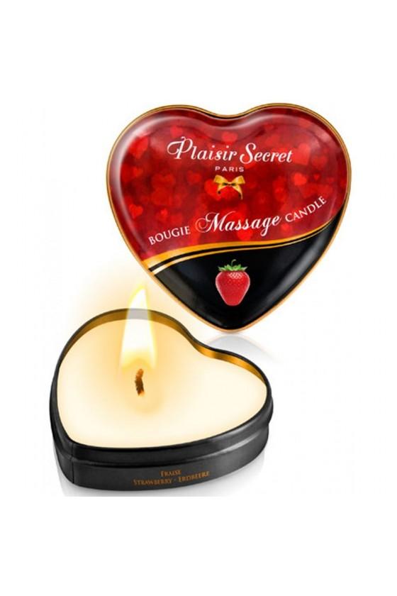 Mini bougie de massage fraise boîte coeur 35ml