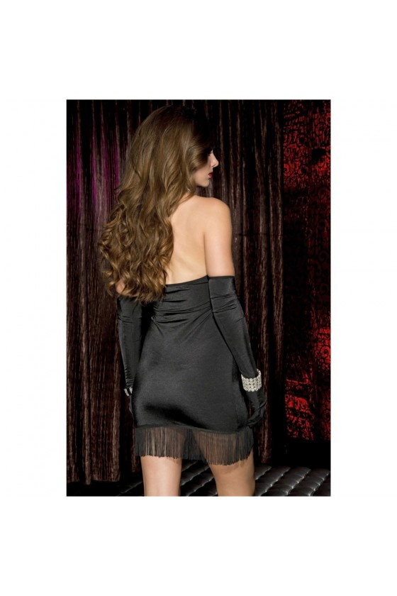 Robe courte noire à franges