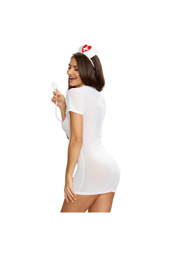 Déguisement robe d'infirmière avec coiffe et stéthoscope fantaisie