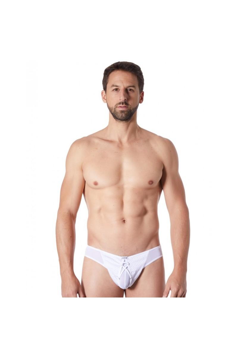 String blanc sexy fine maille transparente doublure opaque et lacet