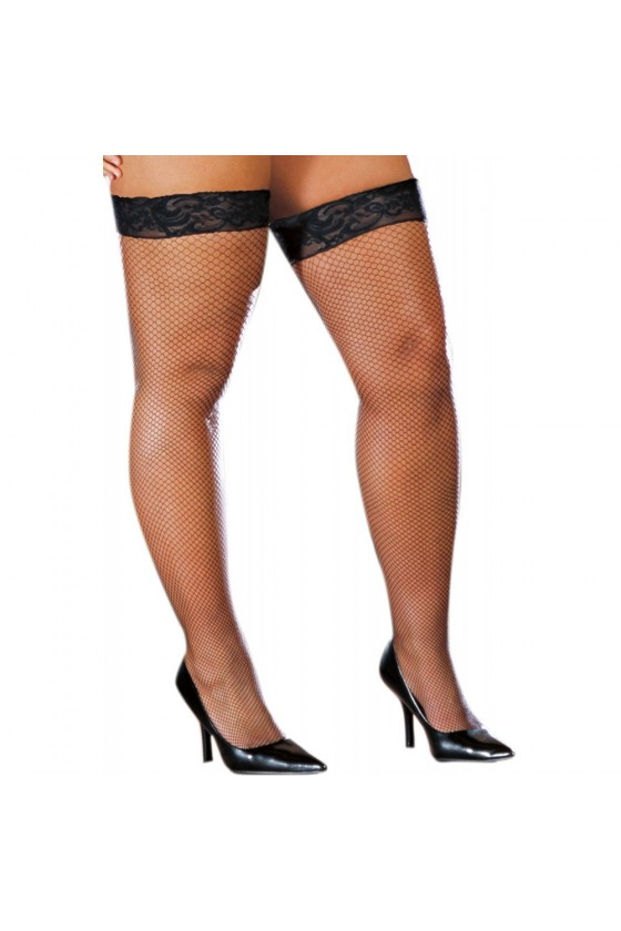 Bas résille grande taille noirs autofixants effet coutures et jarretières dentelle