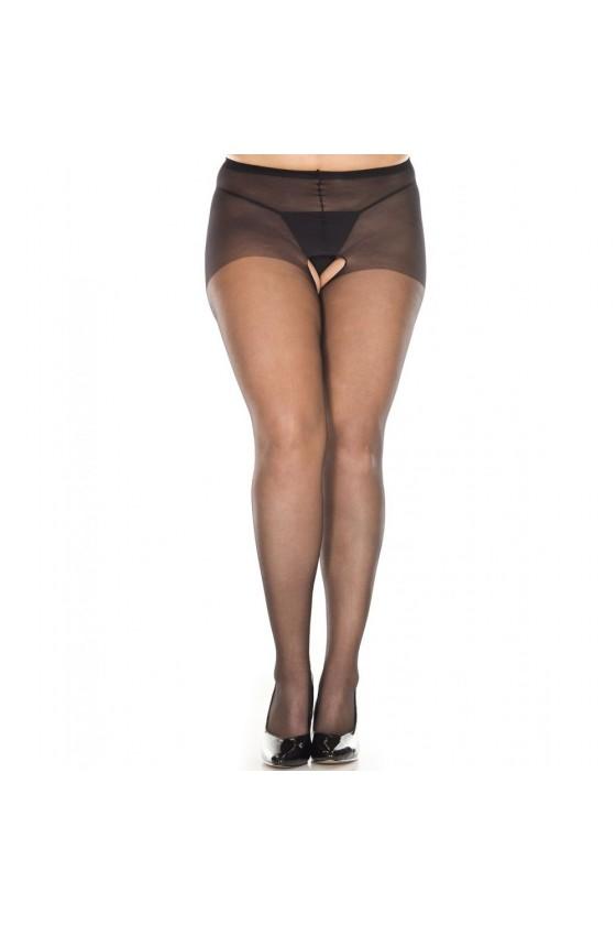 Collant noir sexy grande taille ouvert à l'entre-jambes
