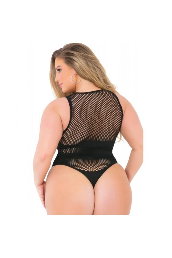 Body string noir grande taille résille filet bandes opaques