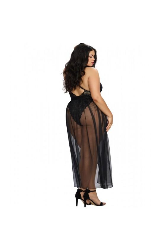 Body string noir grande taille échancré dentelle avec jupe de maille transparente amovible