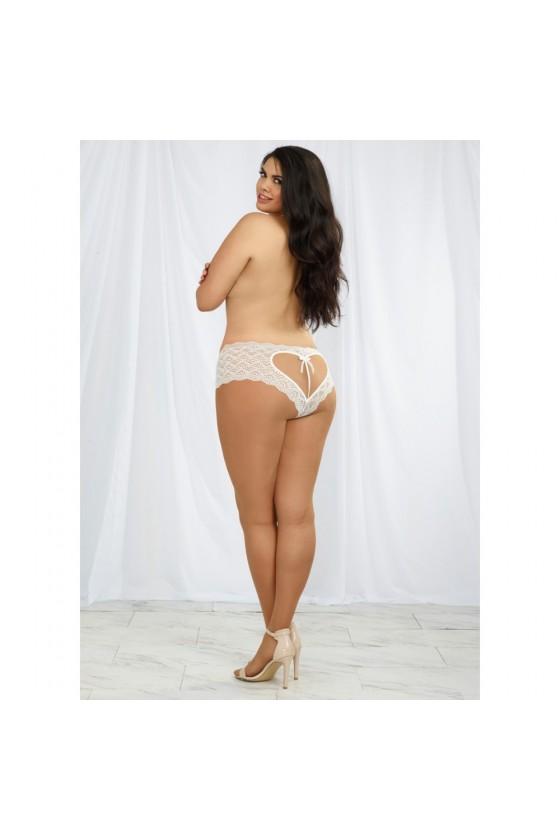 Shorty blanc grande taille de dentelle ouvert et ajouré sur les fesses forme coeur